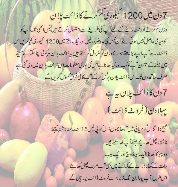 7 Din Mein Wazan Kam Karne Ka Tarika Diet Plan In Urdu