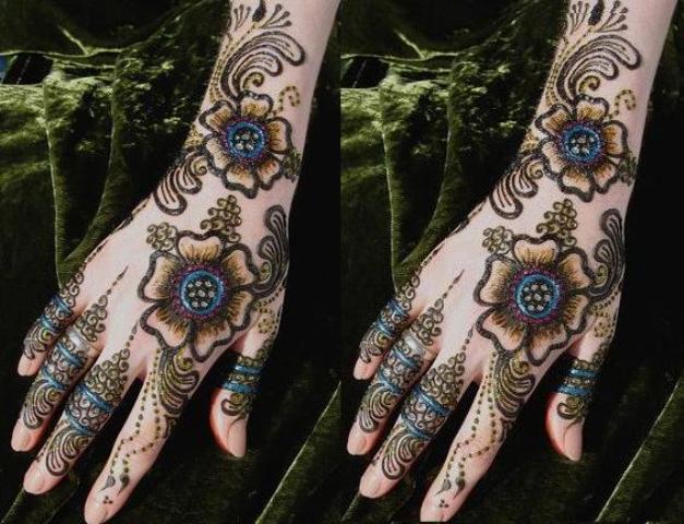 Mehndi Designs Colour : Mehndi designs with glitter colors in pakistan