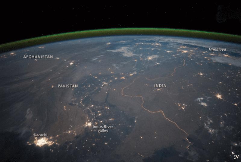 India-Pakistan border from space khala.