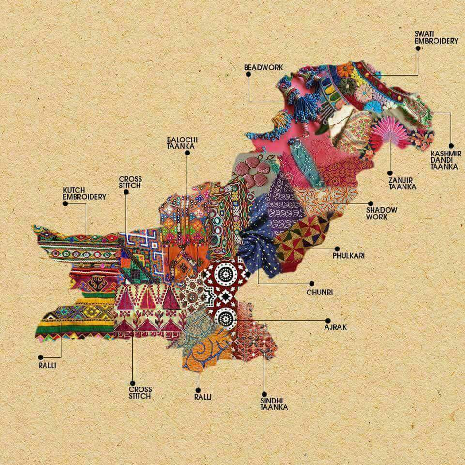 Map of Pakistan showing the embroidery techniques of its regions.