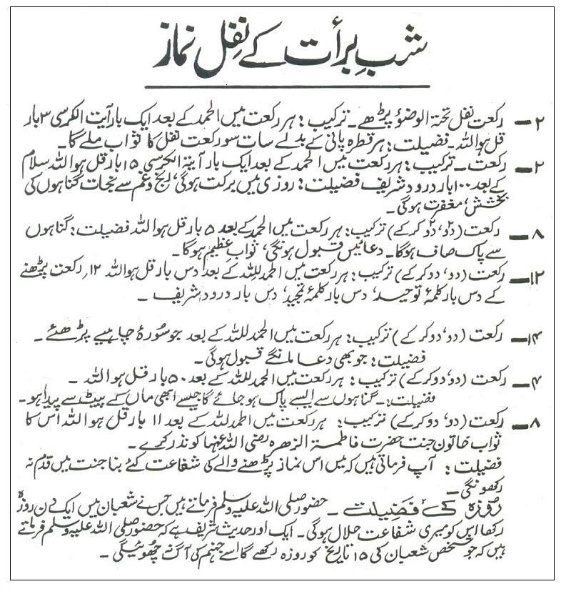 Shab-e-Barat ki Nafal Namaz.