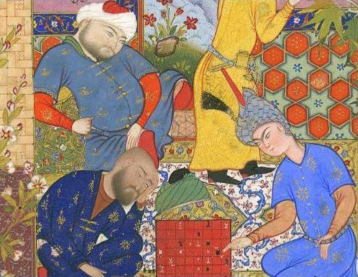 Youth_at_chess_with_suitors_-_Haft_Awrang.