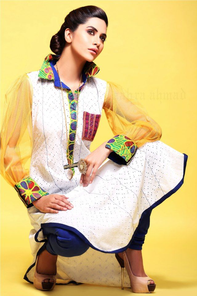 Zahra-Ahmad-BEAT-THE-HEAT-Collection-2013-Latest-shirt-and-tights-For-Girls-11.